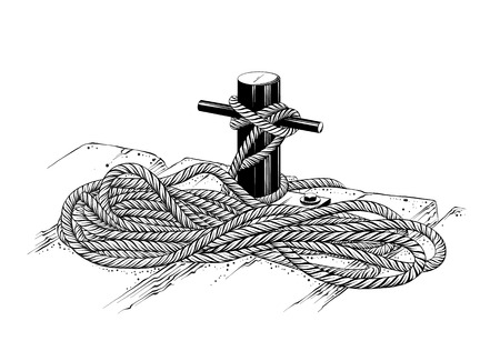 Vector drawing of mooring rope in black color, isolated on white background. Graphic illustration, hand drawing. Drawing for posters, decoration and print. Vector illustration.  イラスト・ベクター素材
