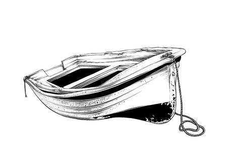 Vector drawing of wooden boat in black color, isolated on white background. Graphic illustration, hand drawing. Drawing for posters, decoration and print. Vector illustration.