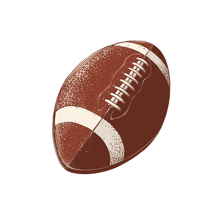 Vector drawing of rugby ball in color, isolated on white background. Graphic illustration, hand drawing. Drawing for posters, decoration and print.