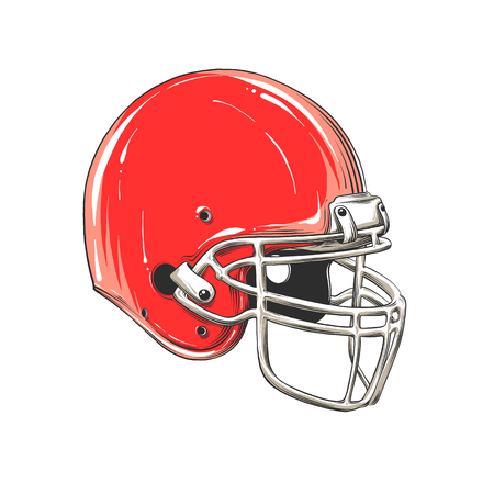 Vector drawing of american football helmet in color, isolated on white background. Graphic illustration, hand drawing. Drawing for posters, decoration and print. Vector illustration