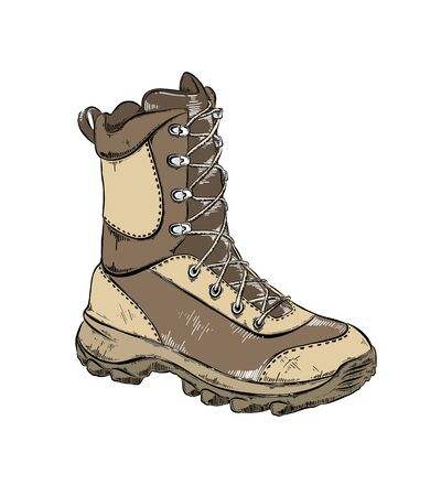 Vector drawing of boot in brown color, isolated on white background. Drawing for posters, decoration and print. Vintage style drawing. Vector illustration Illustration