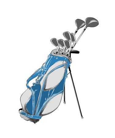 Vector drawing of golf bag in color, isolated on white background. Graphic illustration, hand drawing. Drawing for posters, decoration and print. Vector illustration