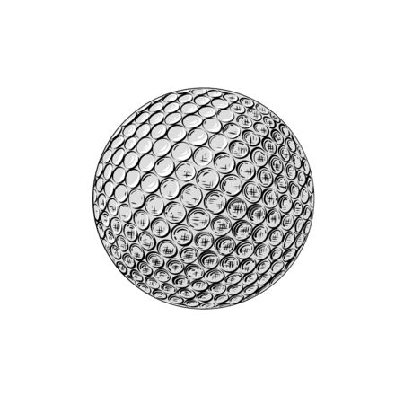 Vector drawing of golf ball in color, isolated on white background. Graphic illustration, hand drawing. Drawing for posters, decoration and print. Vector illustration