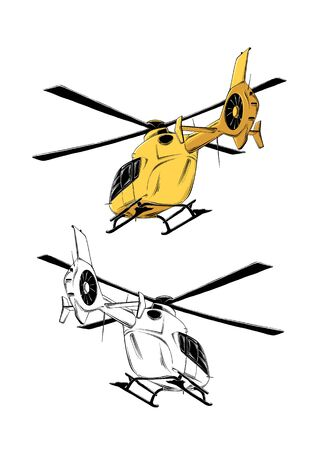 Vector drawing of helicopter in yellow color, isolated on white background. Drawing for posters, decoration and print. Vector illustration Illustration