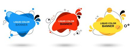 Set of modern abstract vector banners. Liquid color banners. Flat geometric shapes of different colors with black outline. Template for the design, flyer or presentation - Vector Illustration