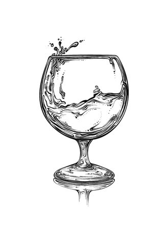 Hand drawn sketch wineglass with spray of liquid in black color. Isolated on white background. Drawing for posters, decoration and print. Vector illustration