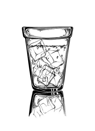 Hand drawn sketch glass with ice in black color. Isolated on white background. Drawing for posters, decoration and print. Vector illustration