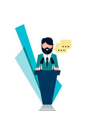 Vector illustration. Public Speaking on podium for presentation and seminar for people with microphone. Graphic design idea - Vector. Illustration