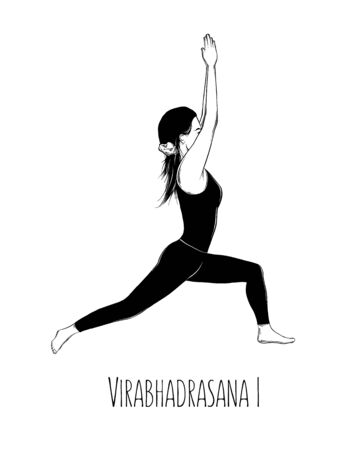 Vector illustration yoga pose Virabhadrasana I. Girl does yoga exercises - vector
