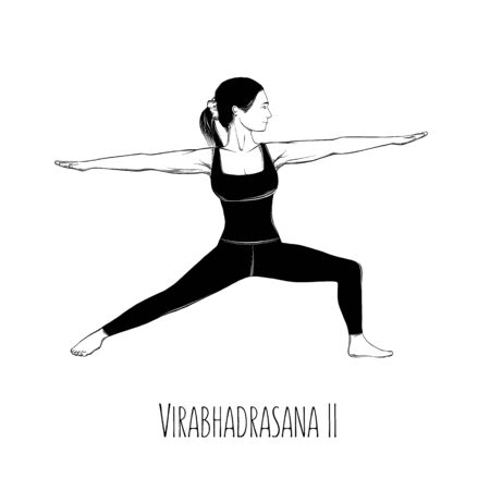 Vector illustration yoga pose Virabhadrasana II. Girl does yoga exercises - vector Illustration