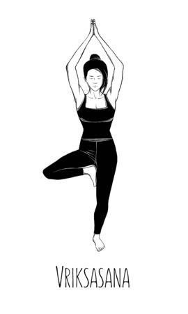 Vector illustration yoga pose Vriksasana. Tree pose. Girl does yoga exercises - vector