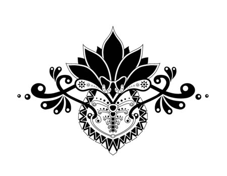 Ethnic pattern whith organic motif, isolatid in white background. Mehndi, henna, tribal design element. Drawing for tattoo, posters, decoration, and print - vector illustration