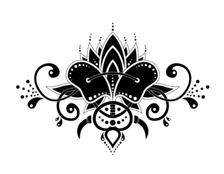 Mehndi organic motif pattern for Henna drawing and tattoo isolated in white background. Decoration in ethnic oriental Indian style. Drawing for tattoo posters decoration and print. Vector illustration