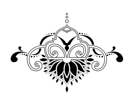 Vector baroque ornament in Victorian style isolatid in white background. It can be used for decorating of invitations, greeting cards, decoration for bags and clothes. Vector illustration