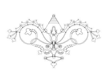 Vector ornament from a button connected by threads similar to a spaceship or a bird. Isolated in white background. Drawing for tattoo, posters, decoration for bags and clothes - Vector illustration Illustration