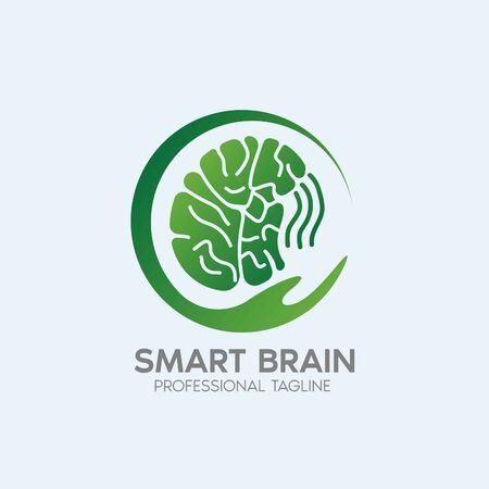 smart brain logo design template