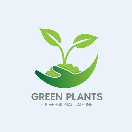 green plants logo design template