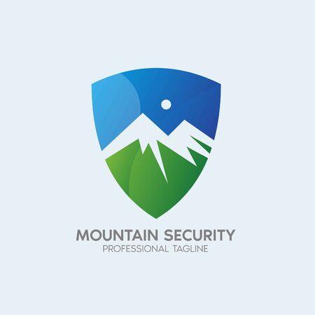 mountain security vector logo design template Illustration