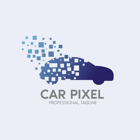 car pixel vector logo design template