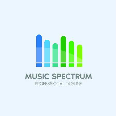 music spectrum vector logo design template  イラスト・ベクター素材