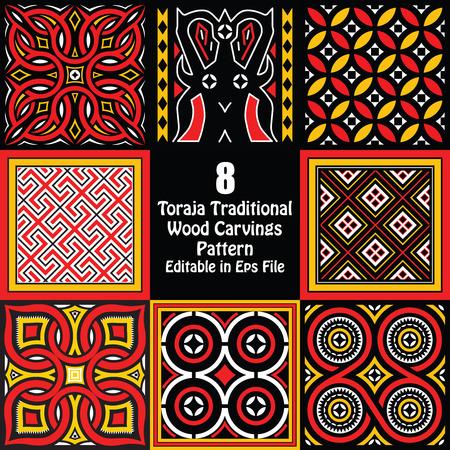 Toraja Traditional Wood Carvings Pattern Editable in eps file