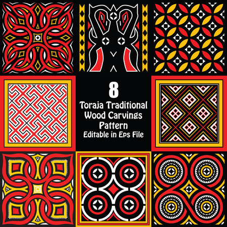 Toraja Traditional Wood Carvings Pattern Editable in eps file