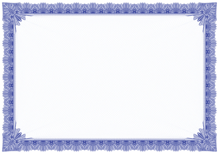 Border with ouline style in blue colour, inside background there are soft outline for secure printing Фото со стока