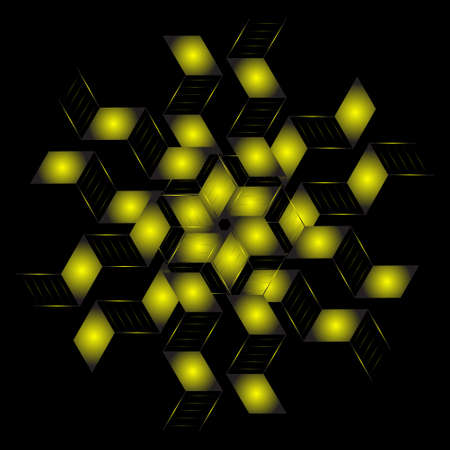 abstract starlight circular with fractal style. yellow starlight spirograph