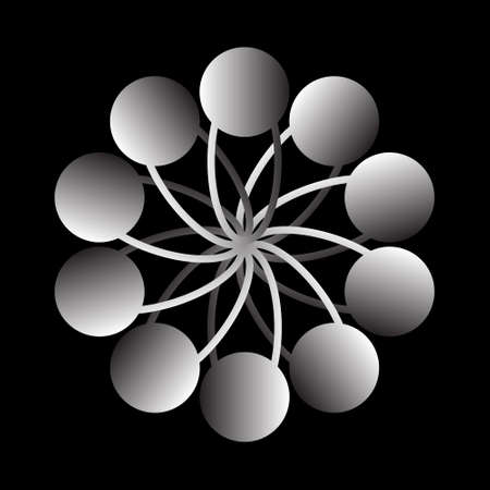 Abstract circular spiral pattern in the shape of a flower star. 3d white circular spiral transition. Spiral star grid vector image with circular transitions