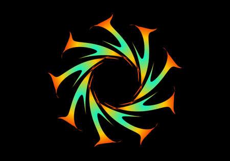 Abstract fractal circular spiral transition. Colorful circular fractal spirograph. Geometric fractal spirograph. Orange tosca Fractal Vettoriali