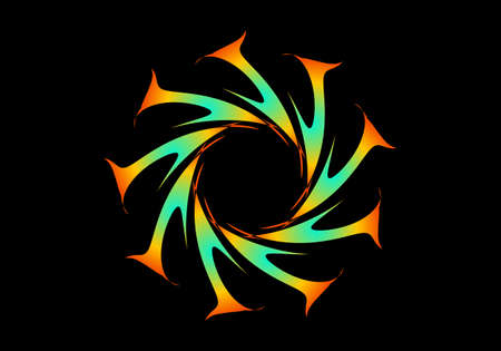 Abstract fractal circular spiral transition. Colorful circular fractal spirograph. Geometric fractal spirograph. Orange tosca Fractal Vektoros illusztráció
