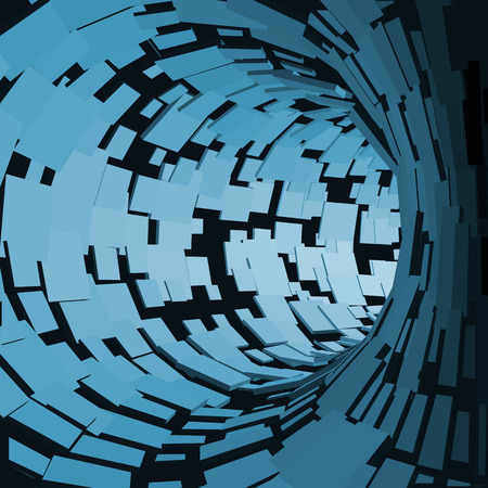 visualisation: Abstract Tunnel. Futuristic Style. 3D Abstract Surface. Turning Tube Tunnel. Perspective Background. Data visualisation Illustration