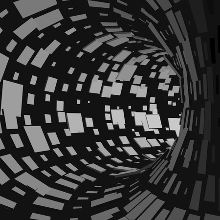 Abstract Tunnel. Futuristic Style. 3D Abstract Surface. Turning Tube Tunnel. Perspective Background. Data visualisation Illustration