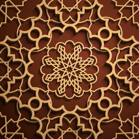 Seamless Arabic geometric ornament collection.