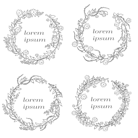 Linear vector frame with space for text holiday greetings, wedding, party invitation design template. Decorative background for greeting card in linear style on white background. Illustration