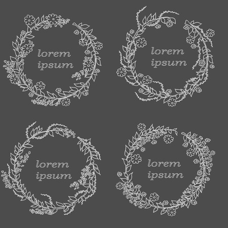 Linear vector frame with space for text holiday greetings, wedding, party invitation design template. Decorative background for greeting card in linear style on dark background. Illustration