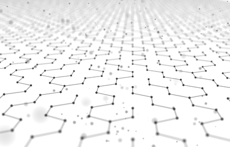 Futuristic Hexagon Pattern Abstract Background. 3d Render Illustration. Space surface. Light sci-fi backdrop. Dots and lines connections. Science and technology concept. Big data macro wireframe.