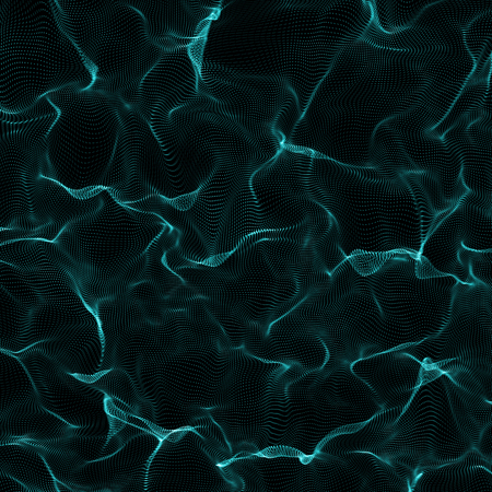 Futuristic Abstract Background. 3d Render Illustration. Warp surface. Distortion. Space surface. sci-fi backdrop. Dots and lines connections. Big data wireframe.