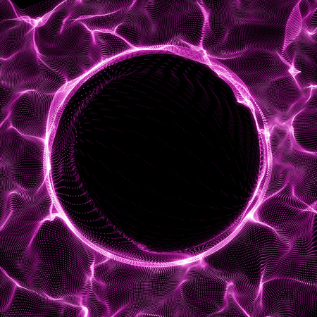 Futuristic Background. Lightning vortex background. 3D render illustrator. Abstract Tunnel. Futuristic Style. Turning Tube. Perspective Backdrop. Frame with space for copy.