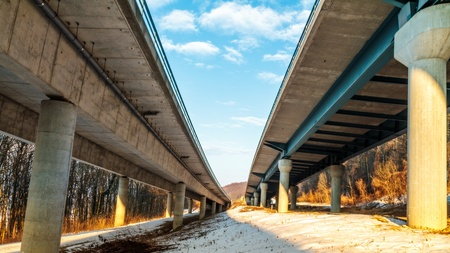German Freeway in Winter    Autobahn photo
