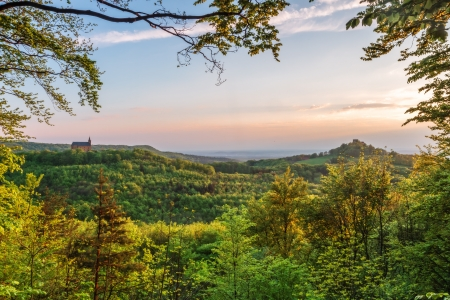 Giechburg Castle and Guegel Chapel in Mai in Upper Franconia during sunset photo