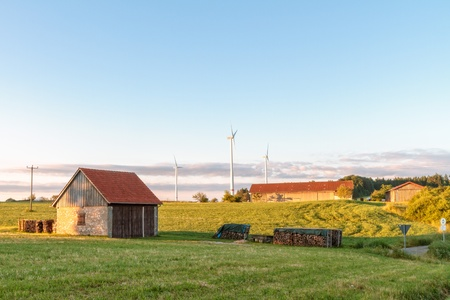Bavarian Summer Landscape with Wind Power Stations photo