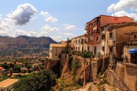 Summer Landscape of Sicily and Cityscape of Palermo, shot from Monreale Standard-Bild
