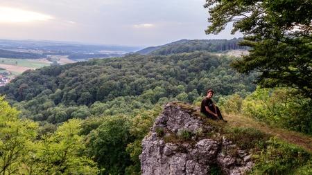 jura: Young Man in the Bavarian Jura Mountains Stock Photo