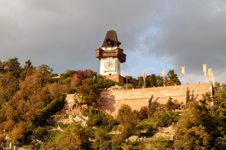 Graz Clock Tower  Amazing Bell Tower at the Graz castle hill in Austria  Picture was taken in September