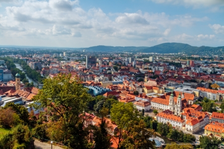 Roofs of Graz  Lovely Picture of the amazing Austrian City of Graz in September with a view from the castle hill on the famous roofs of the city