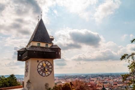 Graz Clock Tower  Amazing Bell Tower at the Graz castle hill in Austria  Picture was taken in September Stock Photo