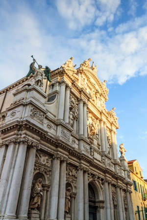 saint mark square: Church Temple Facade at Venice  Picture of a Temple Facade in the lagoon city of stone Venice in Italy Stock Photo
