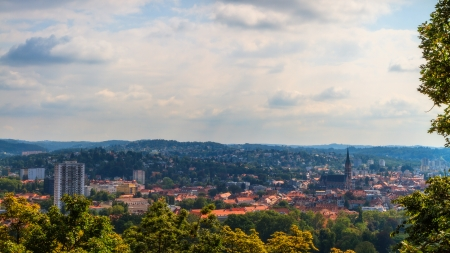 Amazing Austrian City of Graz in September with a view from the  hill on the famous roofs of the city