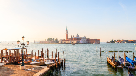 venice gondola: Lagoon of Venice with View on San Giorgio  Picturesque Morning Picture with an amazing view on the lagoon of the stone city of Venice in Italy